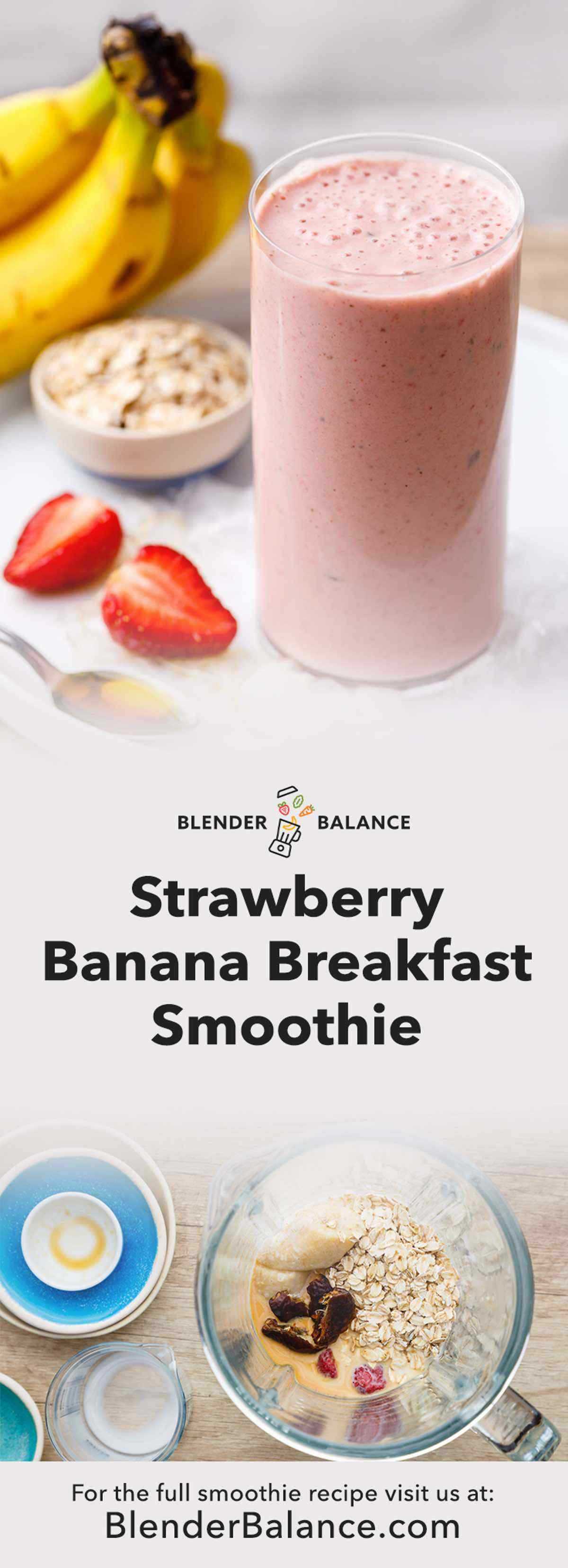 Strawberry Banana and Oatmeal Breakfast Smoothie