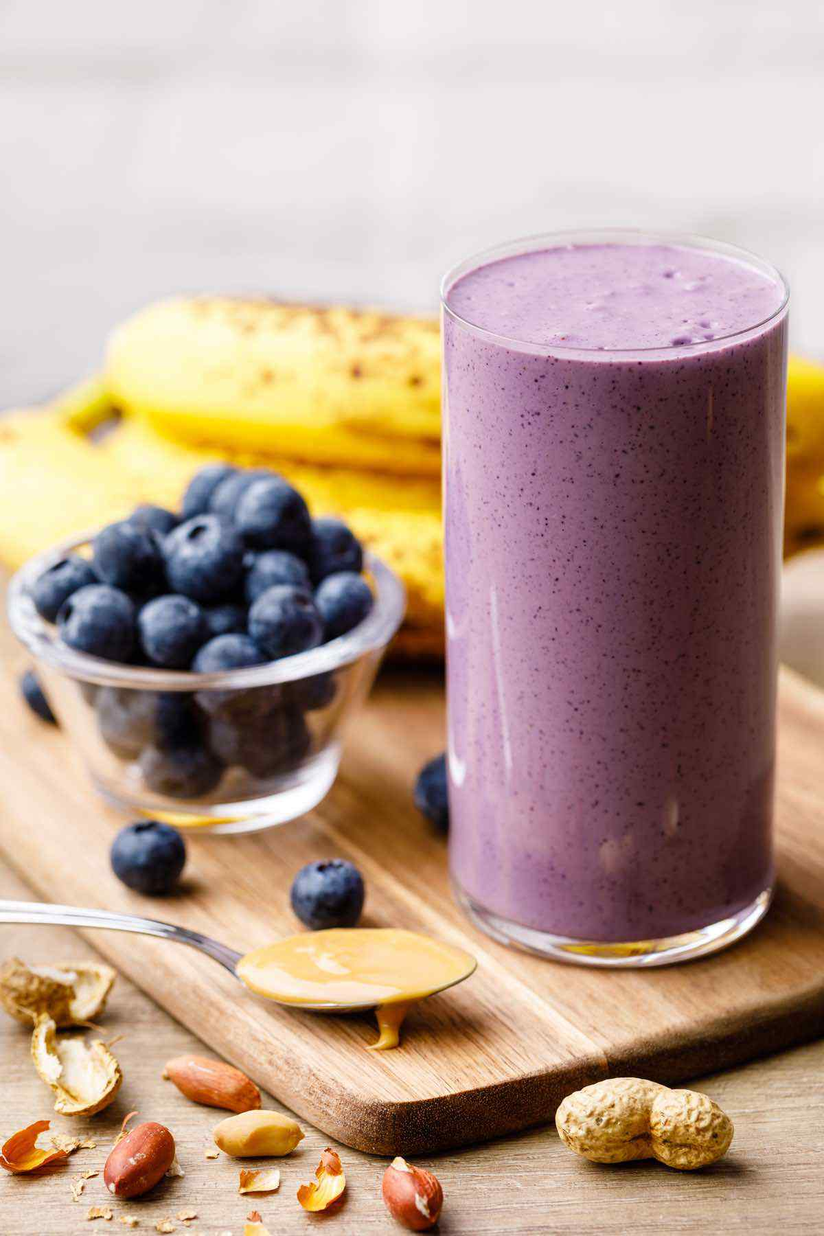 Peanut Butter and Blueberry Banana Smoothie