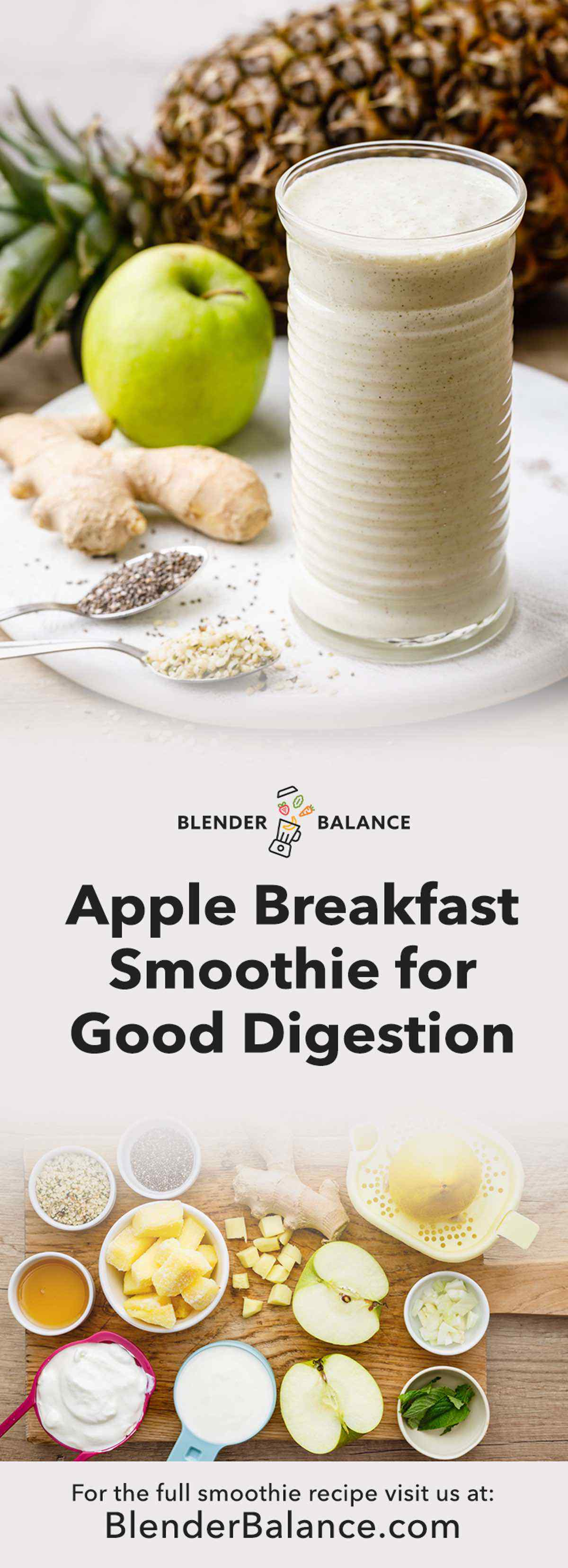 Apple Breakfast Smoothie for Healthy Digestion